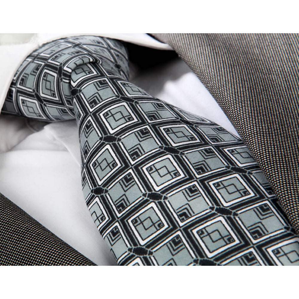 Men's Fashion Black Grey Squares Neck Tie Gift box