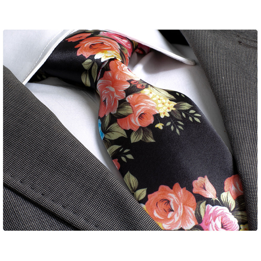 Men's jacquard Black with Flowers Premium Neck Tie With Gift Box - Amedeo Exclusive