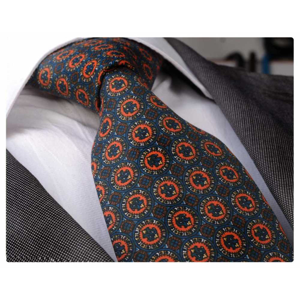 Men' s Fashion Orange Champagne Circles Neck Tie  Box Premium Quality - Amedeo Exclusive