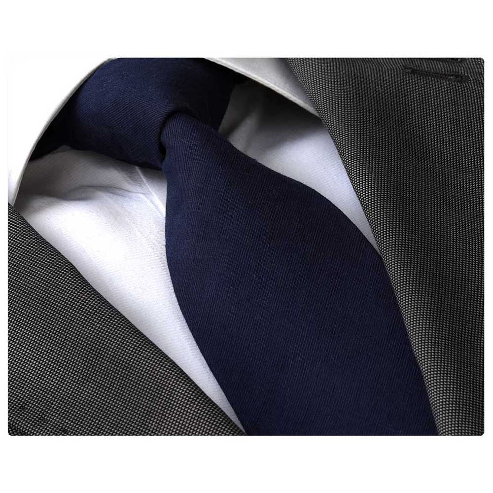Men's Fashion Navy Blue Tie Silk Neck Tie Gift Box