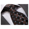 Men's Fashion Black Brown Blue Squares Tie Silk Neck Tie Gift Box