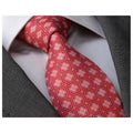 Men's Fashion Red White Tie Silk Neck Tie Gift Box