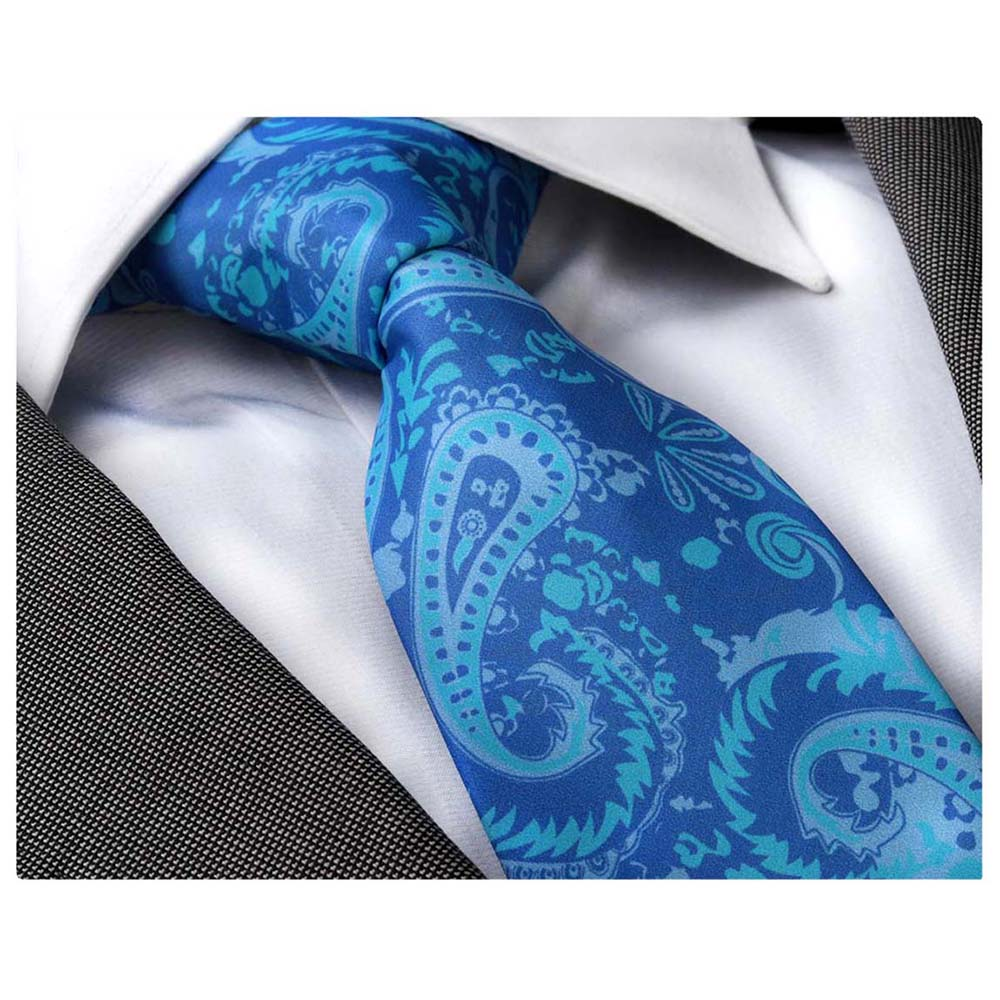 Men's Fashion Blue Paisley Tie Silk Neck Tie Gift Box