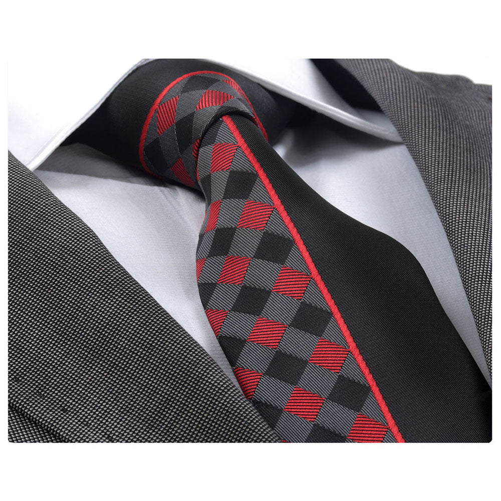 Men's jacquard Red Plaid half black Neck Tie With Gift Box