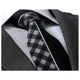 Men's jacquard Gray White Plaid half Black Premium Neck Tie With Gift Box - Amedeo Exclusive