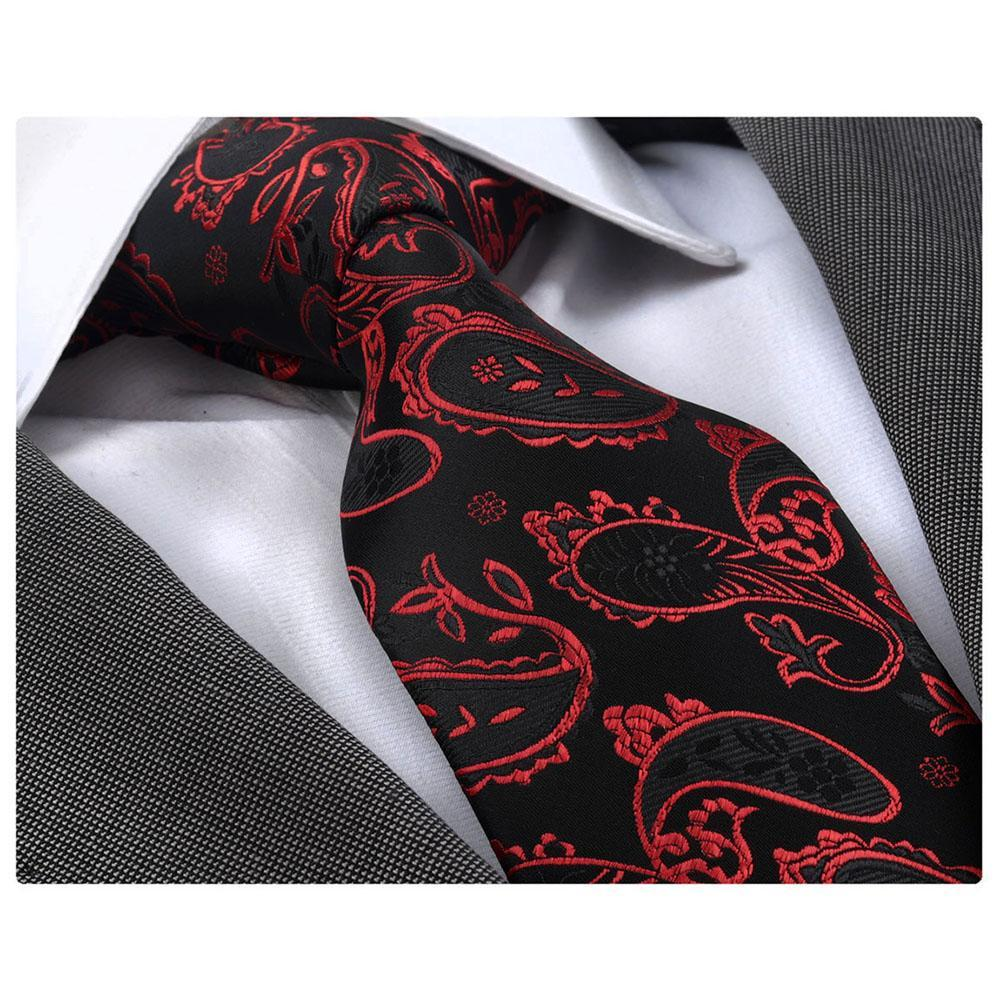 Men's Fashion Red Black Paisley Silk Neck Tie Gift Box
