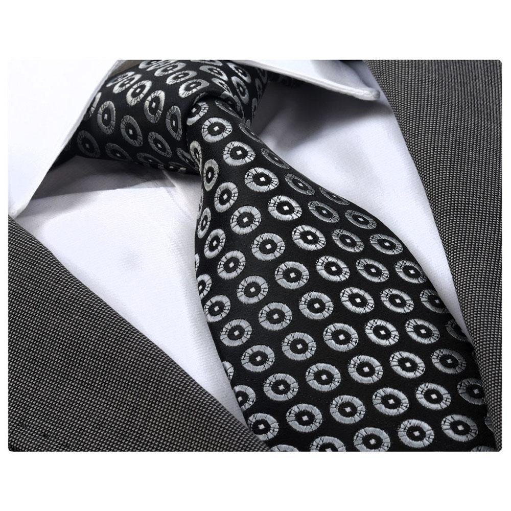 Men's Fashion Black Silver Circles Squares Neck Tie Gift box - Amedeo Exclusive