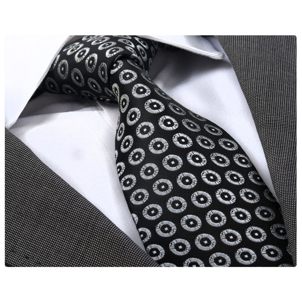 Men's Fashion Black White Champagne Circles Neck Tie With Box Gift - Amedeo Exclusive