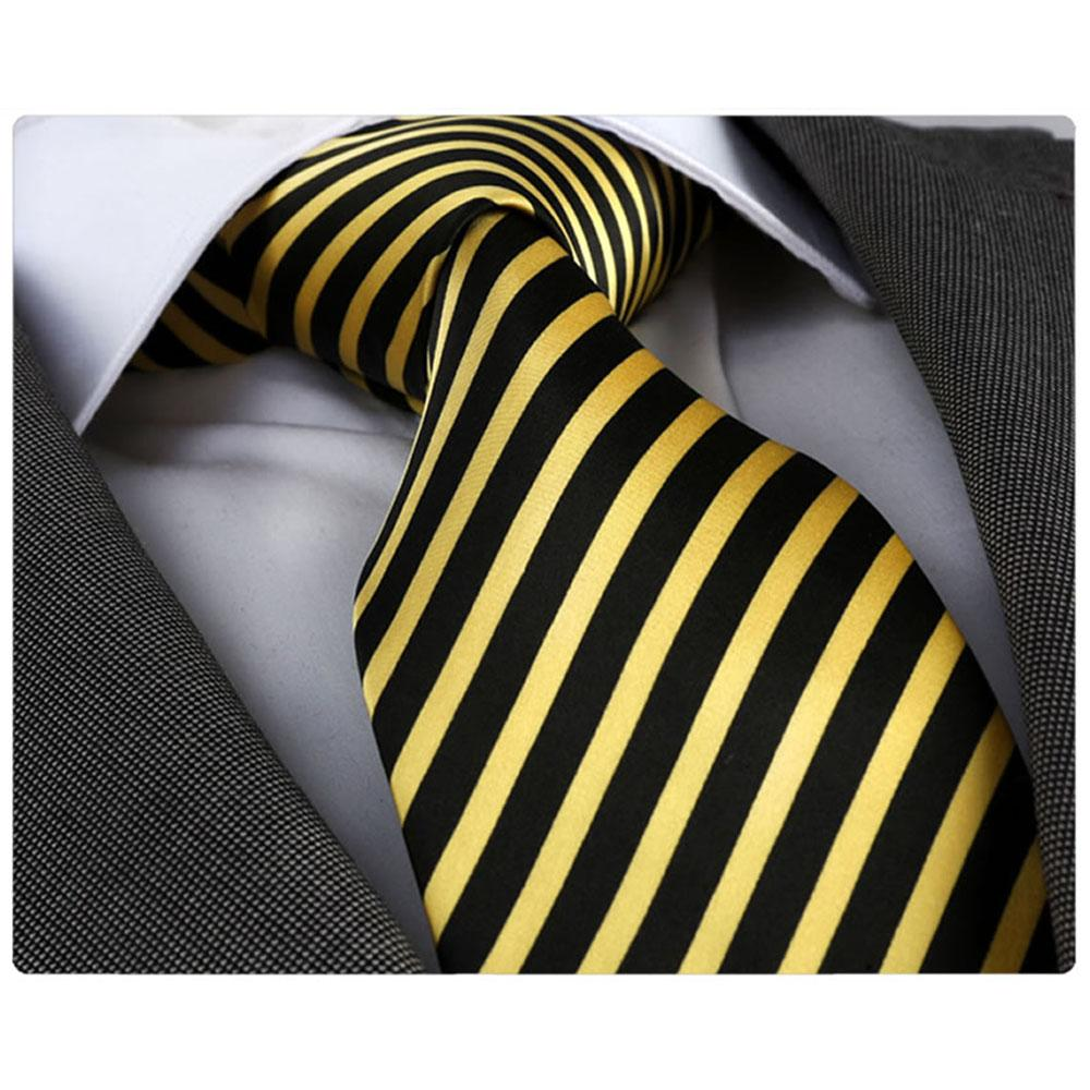 Men's Fashion Black Yellow Stripes Squares Neck Tie Gift box - Amedeo Exclusive