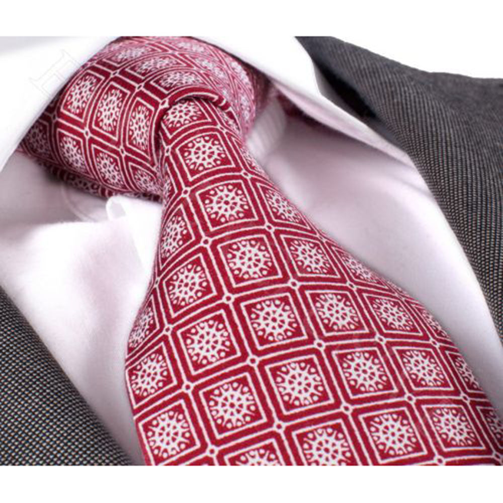 Men's Fashion Red With Silver Design Tie Silk Neck Tie Gift Box