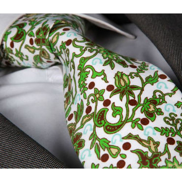 Men's Fashion  White With Green & Brown Flowers Tie Silk Neck Tie Gift Box