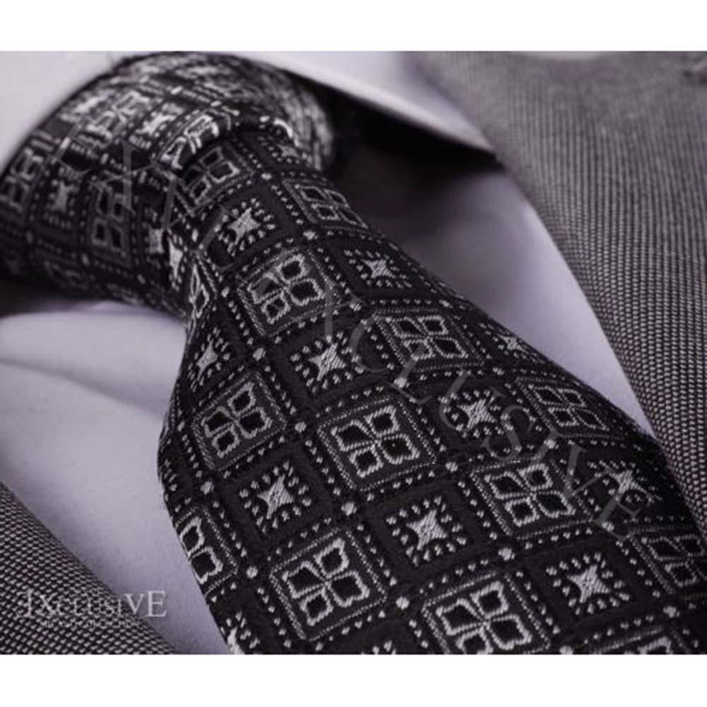 Men's jacquard Silver & Black Design Premium Neck Tie With Gift Box - B - Amedeo Exclusive