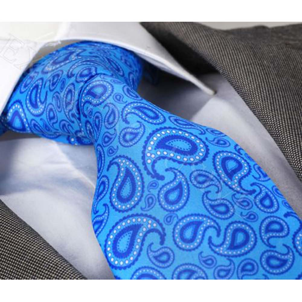 Amedeo Exclusive Clasic Men's woven Silk Turkey Blue Paisley Neckties