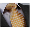 Men's Fashion Silver & Gold Checkers Tie Silk Neck Tie Gift Box