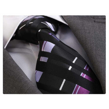 Men's Fashion Black Purple White Squares Neck Tie Gift box