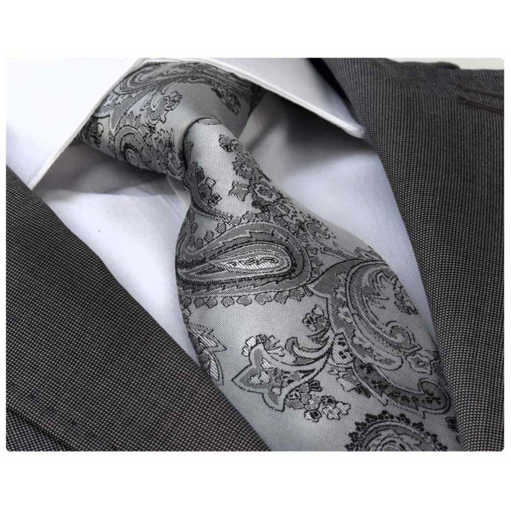 Men's jacquard Silver Grey Paisley Tie With Gift Box