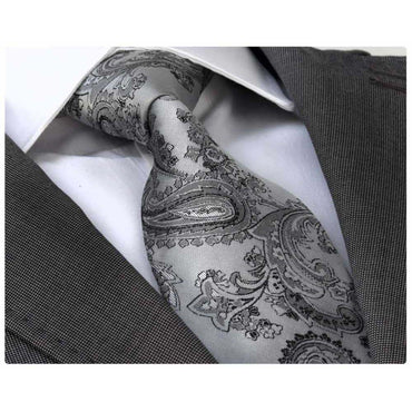 Men's jacquard Silver Grey Paisley Premium Neck Tie With Gift Box