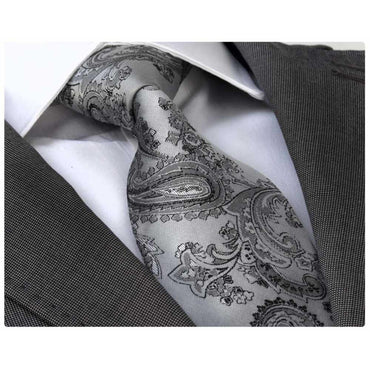 Men's Fashion Silver Grey Paisley Neck Tie Gift box - Amedeo Exclusive