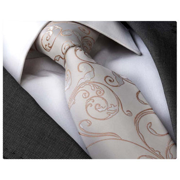 Men's Fashion White Gold Paisley Neck Tie Gift box