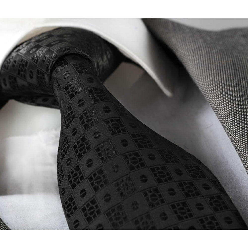Men's jacquard Black Squares Premium Neck Tie With Gift Box - Amedeo Exclusive