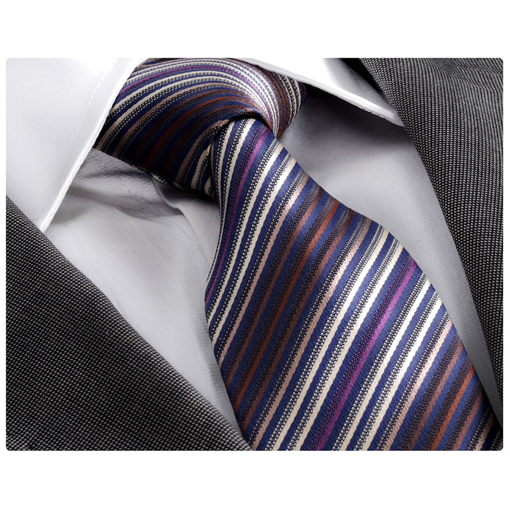 Men's jacquard Blue Purple Striped Tie With Gift Box
