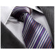 Men's jacquard Blue Purple Striped Premium Neck Tie With Gift Box - Amedeo Exclusive