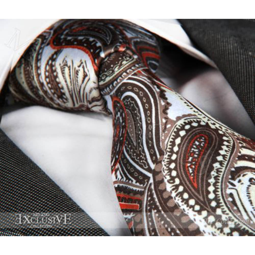 Woven Silk Men's Brown Paisley Premium Neck Tie With Gift Box