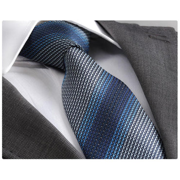 Men's Fashion 3 Blue Shades Neck Tie Gift box - Amedeo Exclusive