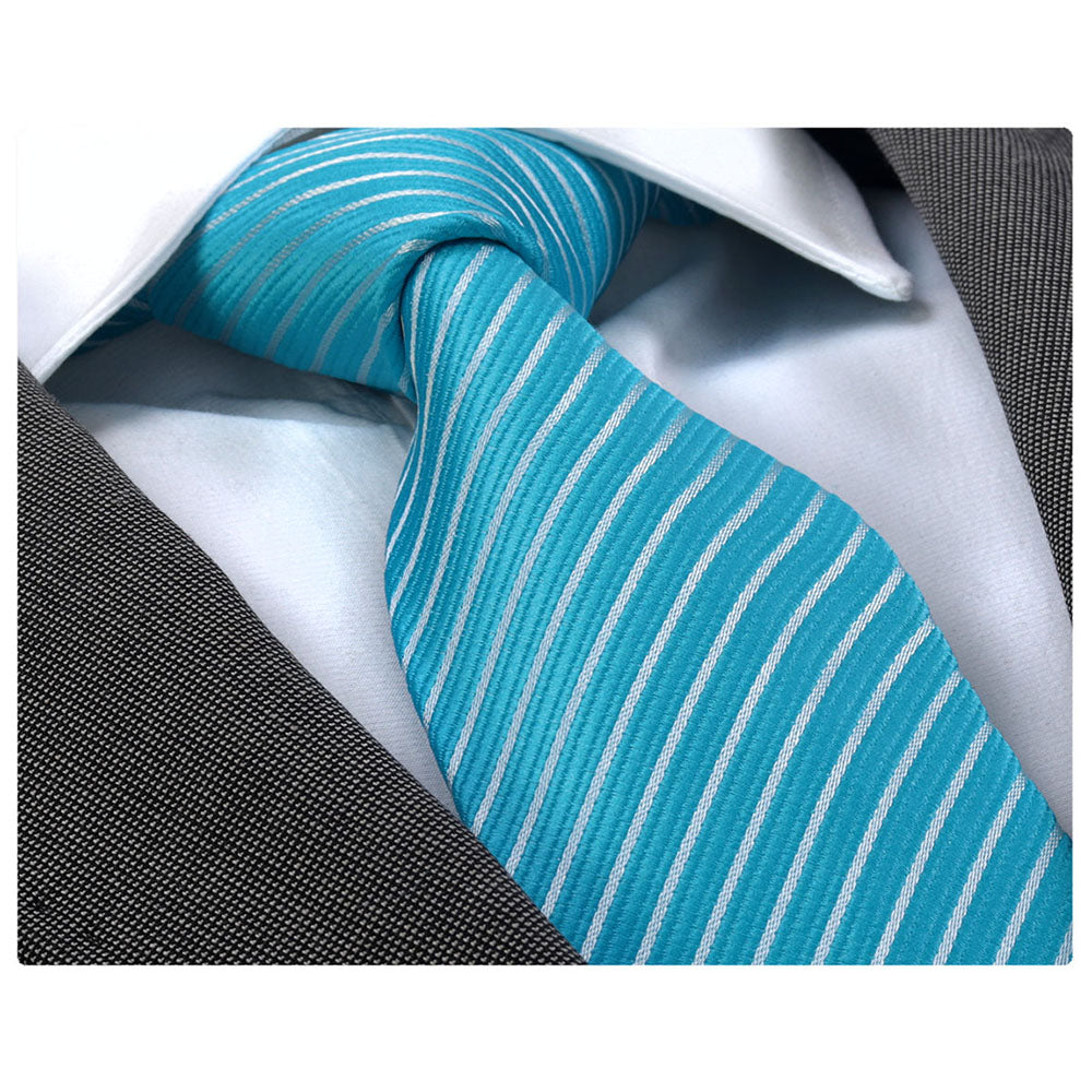 Men's Fashion Turqouise Blue White Lines Silk Neck Tie Gift Box