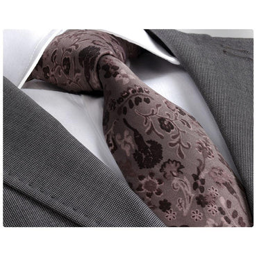 Men's Fashion Brown Paisley Neck Tie Gift box - Amedeo Exclusive