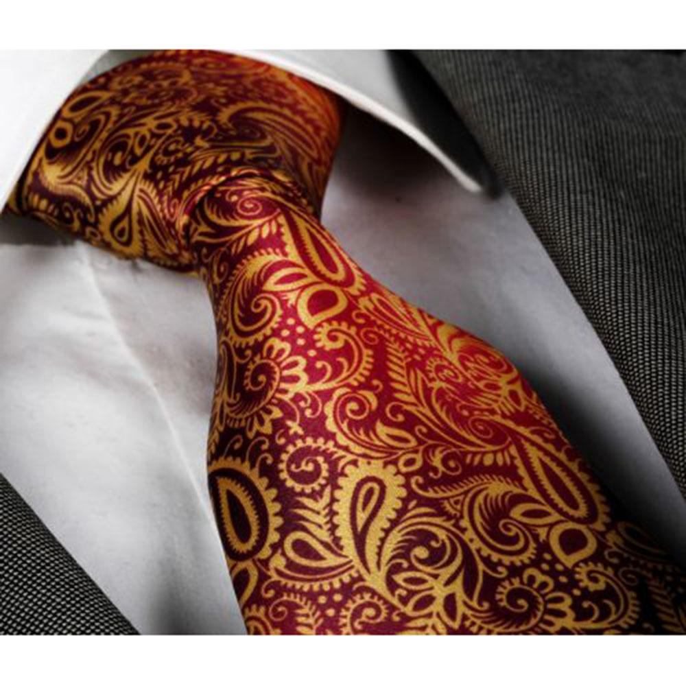 Men's jacquard Gold Pink Purple Paisley Premium Neck Tie With Gift Box - Identical - Amedeo Exclusive