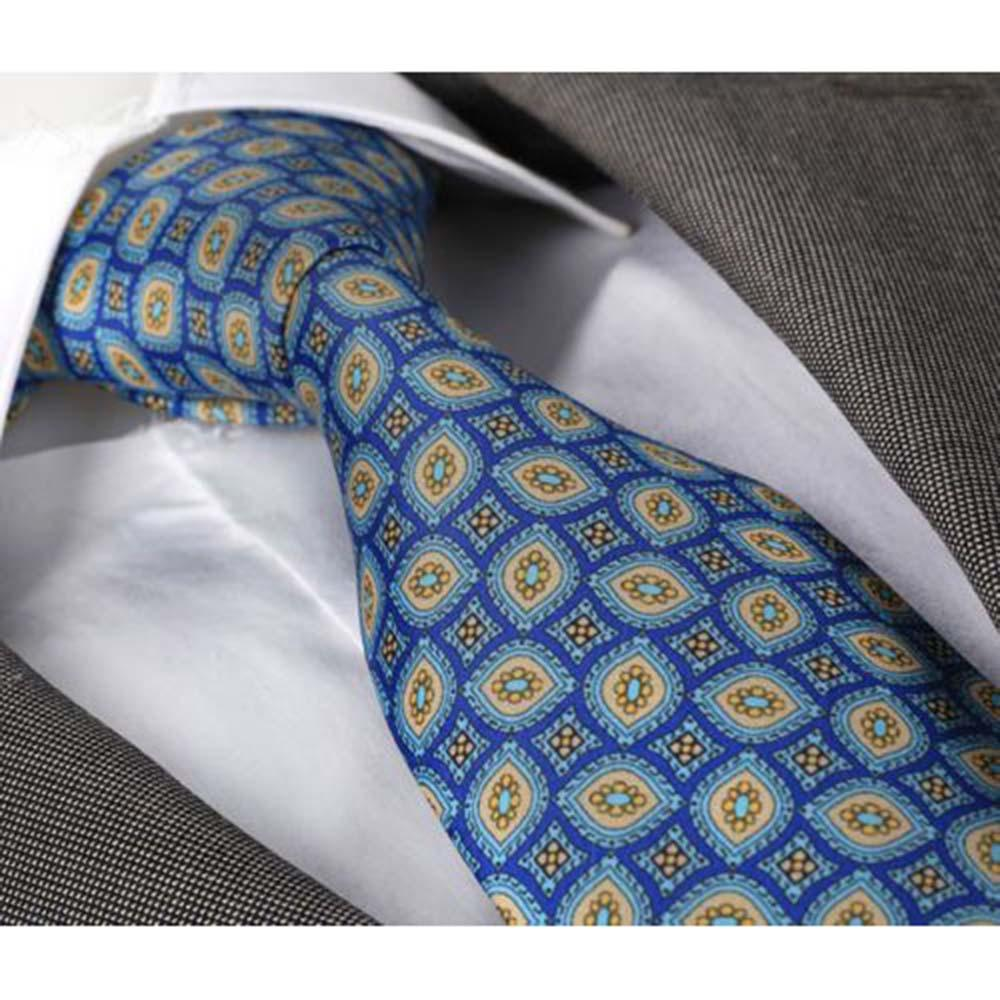 Men's jacquard Blue & Yellow Premium Neck Tie With Gift Box - Amedeo Exclusive