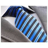 Men's jacquard Metallic Blue and Black Lines Premium Neck Tie With Gift Box - Amedeo Exclusive