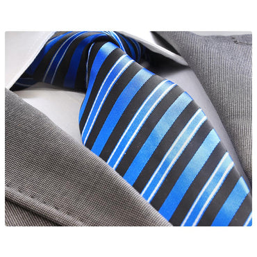 Men's Jacquard Turkey made silk neck tie - Metallic Blue and Black Lines necktie