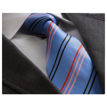 Men's jacquard Blue with Red Black & Pink Lines Premium Neck Tie With Gift Box - Amedeo Exclusive
