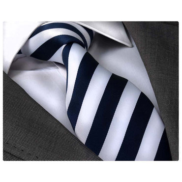 Men's Fashion Navy Blue White Stripes Neck Tie Gift Box - Amedeo Exclusive