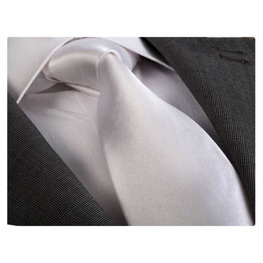 Men's White Silk Neck Tie with Gift Box