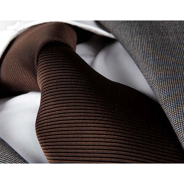 Men's Fashion Solid Brown Lines Tie Silk Neck Tie Gift Box
