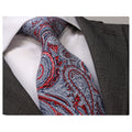 Red and Silver Desgin Mens Designer Silk Necktie with Gift Box - Premium Quality made in Europe - Amedeo Exclusive