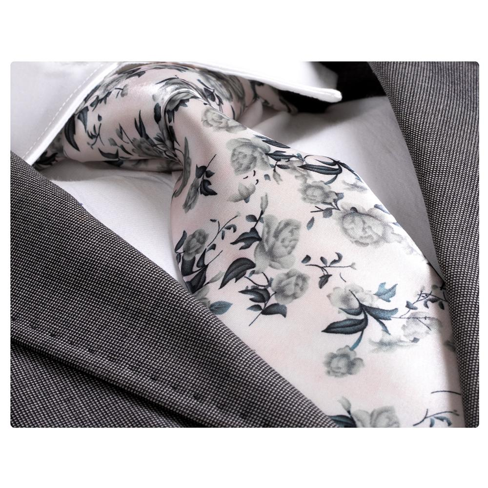 Men's Fashion White Grey Floral Silk Neck Tie with Gift Box