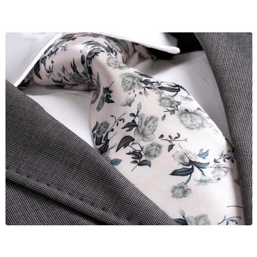 Amedeo Exclusive Men's Fashion White Grey Floral Silk Neck Tie with Gift Box