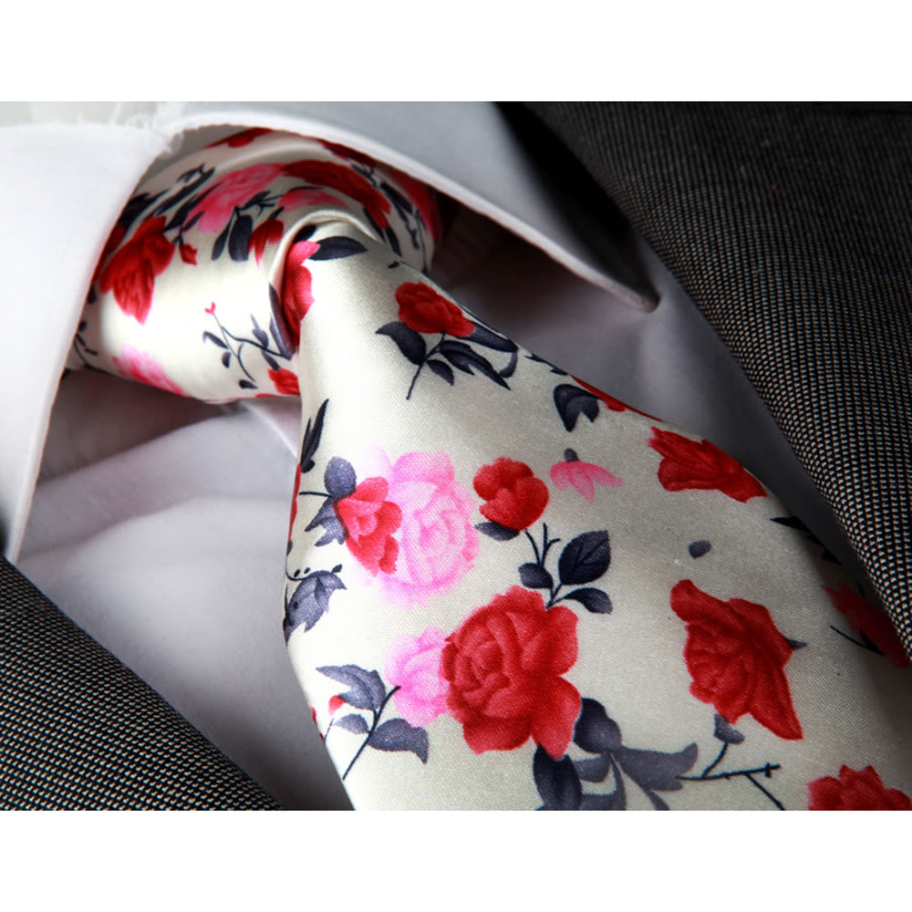 Men's jacquard White Pink Red Roses Neck Tie With Gift Box