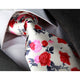 Men's jacquard White Pink Red Roses Premium Neck Tie With Gift Box - Amedeo Exclusive
