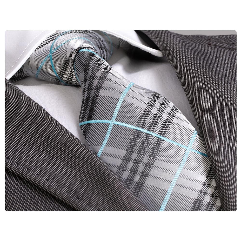 Men's jacquard Grey Check with Turquoise Premium Neck Tie With Gift Box - Amedeo Exclusive