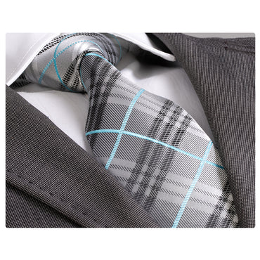 Amedeo Exclusive Men's Fashion Grey Check with Turquoise Silk Neck Tie Gift Box