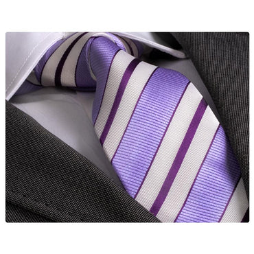 Men's Fashion Purple Striped Skin Tie Silk Neck Tie Gift Box - Identical - Amedeo Exclusive