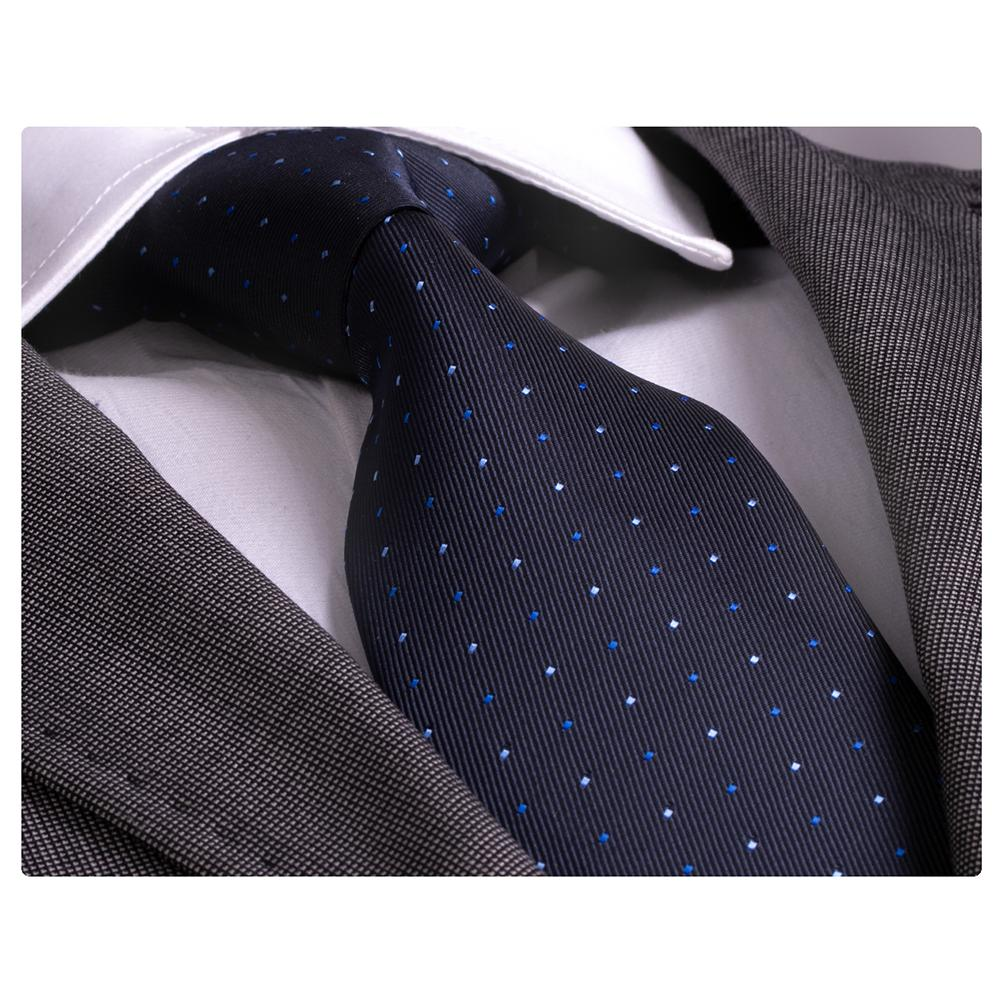 Men's Fashion Blue Tones Polka Dot Silk Neck Tie Gift Box