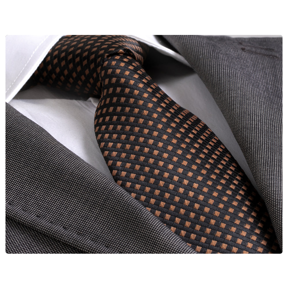 Men's jacquard Brown Checkered Premium Neck Tie With Gift Box - Amedeo Exclusive