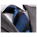 Men's jacquard Blue Black Flowers Premium Neck Tie With Gift Box - Amedeo Exclusive