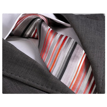 Amedeo Exclusive Men's Fashion Grey Orange-Red Stripe Silk Neck Tie Gift Box
